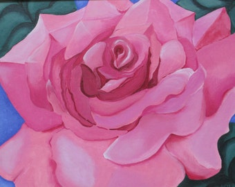 Acylic Painting First Pink Rose