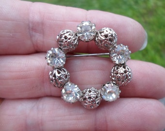 Vintage Small Round Rhinestone Filigree Silver Tone 1960s Pin Brooch Clear