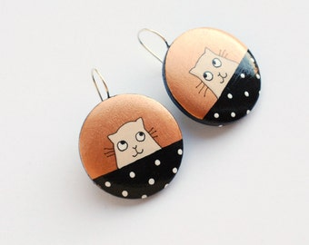 Copper and black earrings with CAT