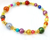 Color Sample Miracle Bead Bracelet, 7 inches (17.8cm) Medium, Japanese Miracle Beads with Gold Accent Beads on Stretch Elastic Cord