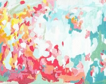 Summer Flower Garden, fine art print, abstract pink yellow and blue contemporary wall art, cottage decor