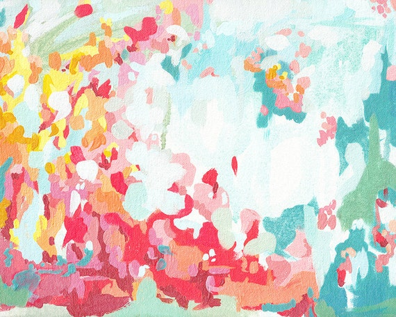 Summer Flower Garden, fine art print, abstract pink yellow and blue contemporary wall art, cottage decor