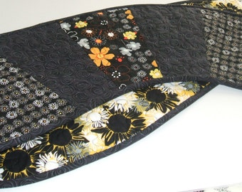 Black and Yellow Swirl Table Runner-Reversible-Free Shipping to US and Canada