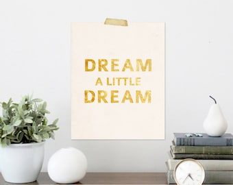 8 x 10 Dream a Little Dream Illustration, Digital Download, Soft Pink and Gold