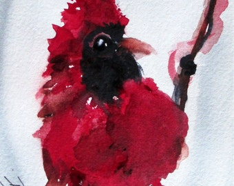 Red Cardinal Watercolor Art Print, 8 x 10 Bird Art