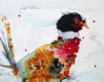 Pheasant Watercolor Print,  10 x 8 Wild Bird Art