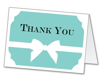 Aqua Ribbon Bow Thank You Notecards (Instant Download Printable)