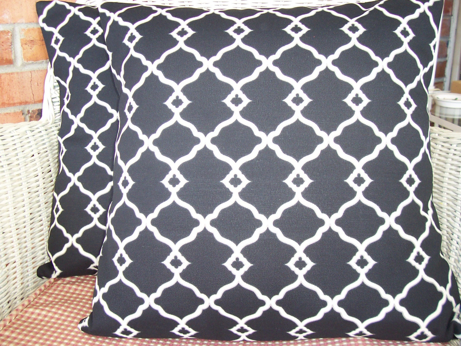 Black OUTDOOR Throw Pillows Decorative Cushion Covers Two