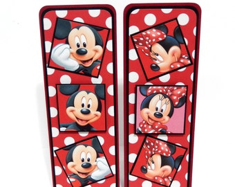 Mickey and Minnie Inspired: Paper Bookmarks Set of 2- approx. 2 1/2 x 7 inches