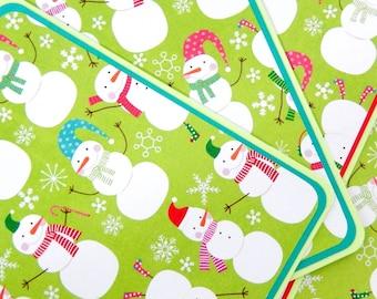 Snowmen: Notecard Set of 4 with Matching Embellished Envelopes