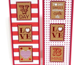 Valentine's Day Bookmarks- Stamps- Set of 2- approx. 2 1/2 x 7 inches