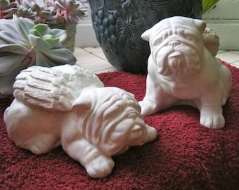 Bulldog Angel Pair, Concrete Bulldog Statues, Painted Cement Garden Memorial, Home & Garden Decor, Pet Memorial, Bulldog Memorial, Bulldogs