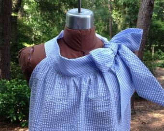 Annie, women seersucker dress big bow tied at shoulder and neckline, seersucker, inlined