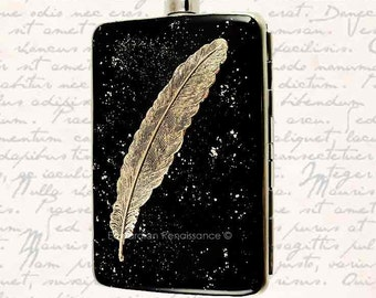 Neo Victorian Hip Flask with Cigarette Case Wallet Ravens Feather 2 oz. Alcohol Flask Quill Inlaid in Hand Painted Black Enamel