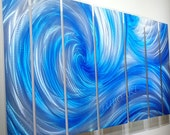 metal art Icy Ocean Dance blue painting silver sculpture 3D Video sea wave new modern wall decor contemporary original hand made by Lubo