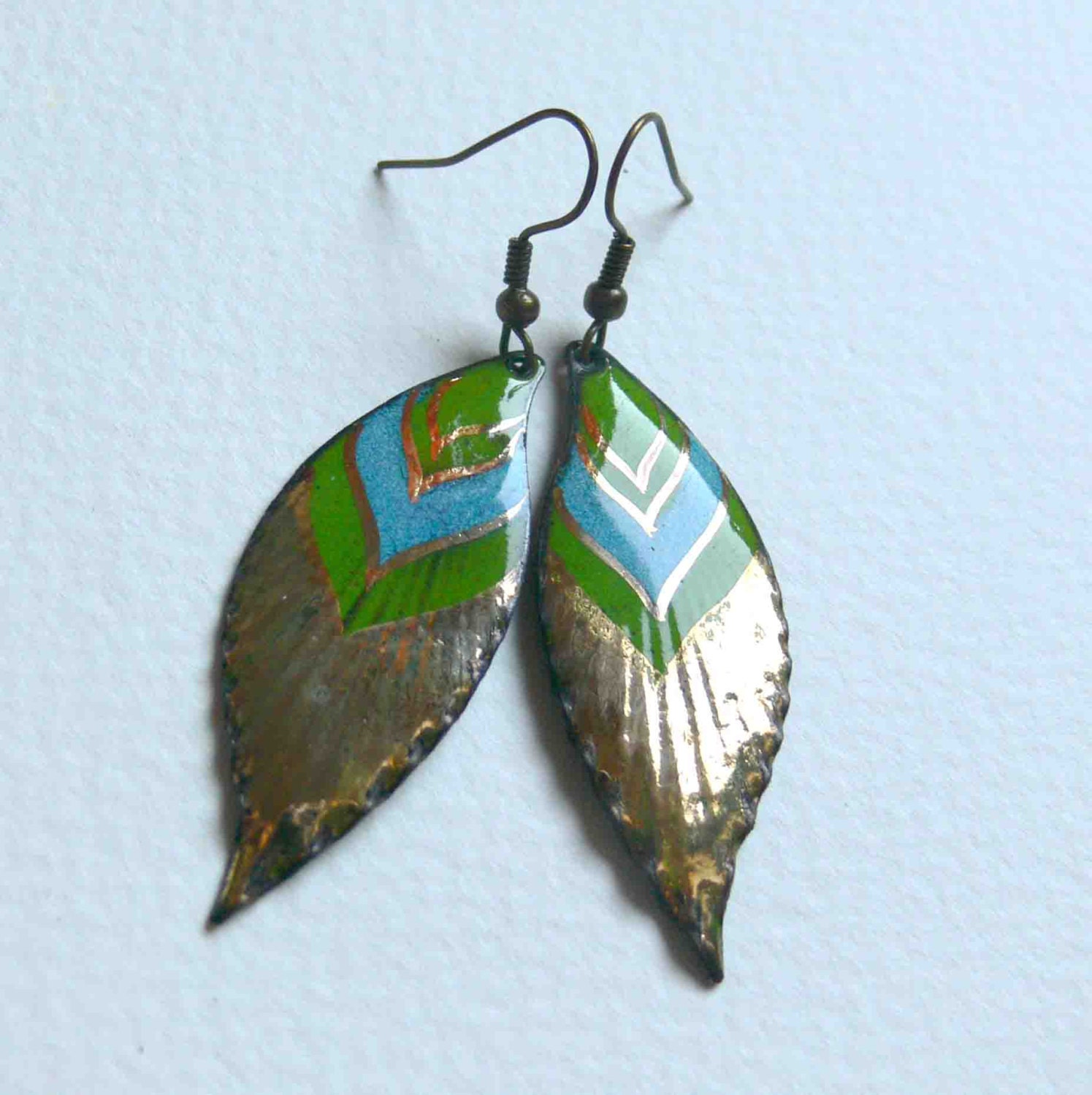 Native american feather earrings 24 carat gold painted for Native american feather jewelry
