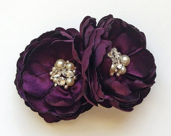Purple Eggplant Flower Hair Clips - Shoe Clips, Brooch for a Bride Bridesmaid Female Friend Gift Special Event Photo Prop Kia Collection