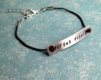 Custom Hand Stamped Leather Cord Bracelet- Aluminum Charm- You Choose The Phrase, Font and Color