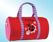 Quilted Duffle Bag - Personalized and Embroidered - LADYBUG