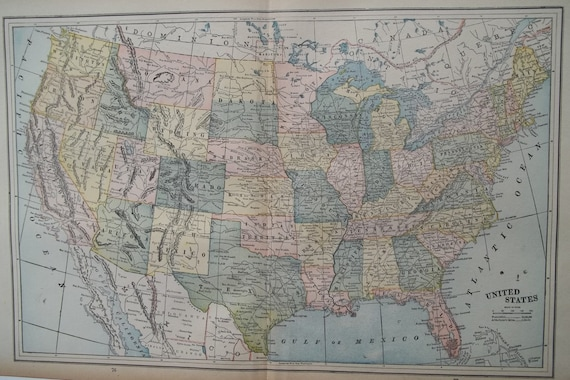 Antique USA UNITED STATES Wall Map Art. Blues. 1891. Large