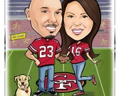 Caricature Wedding Save the Date for Sports Lovers