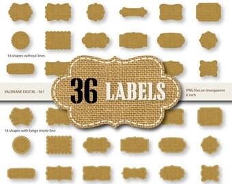 36 Burlap Digital Labels , Digital Frames Burlap clipart, digital frame, frame clip art, burlap label - INSTANT DOWNLOAD Pack 561