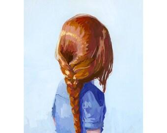 """5x7"""" hair art - braid print - """"Braid 7"""" giclee print"""