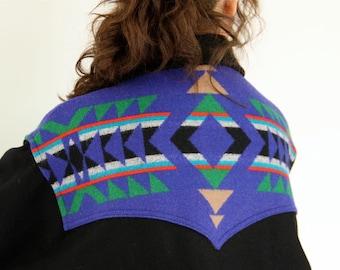 Pendleton Blanket Coat, Wool Bomber Jacket Western Wear Southwestern yoke style black, cobalt blue, green geometric pattern mens womens