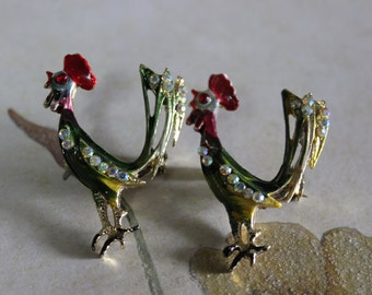 Vintage Pair of Rooster Brooches