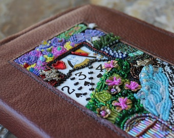 Leather journal sketchbook - Alice in Wonderland - bead embroidered with charms - refillable cover