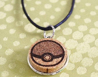 Laser engraved Pokéball upcycled wine cork pendant, pokémon pendant, pokéball pendant, pokémon necklace pokéball charm