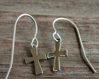 Titanium Earrings, Stainless Steel Cross on Titanium Ear Wires