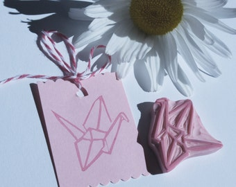 Origami Bird Stamp, Japanese Paper Origami Crane Rubber Stamp, Hand Carved Rubber Stamp