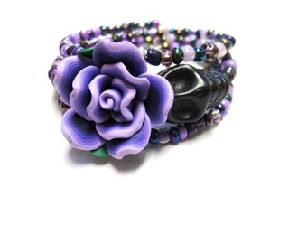 Day Of The Dead Bracelet Sugar Skull Wrap Black Purple Rose