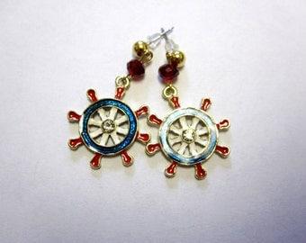 Nautical Earrings Enamel Red White Blue Ships Wheel