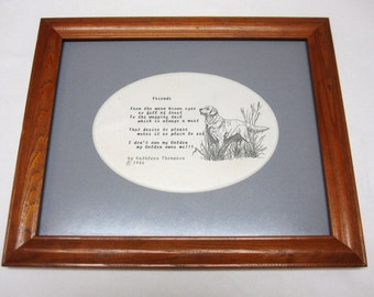 Hunting Dog Poem Art Wall Hanging Matted Framed Friends Kathleen Thompson