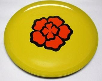 Yellow Orange Platter Plate 60s Modern Flower Black Large Tray Serving Wall Hanging