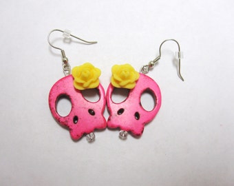 Day Of The Dead Earrings Sugar Skull Dangle Flat Sliced Hot Pink Yellow Rose
