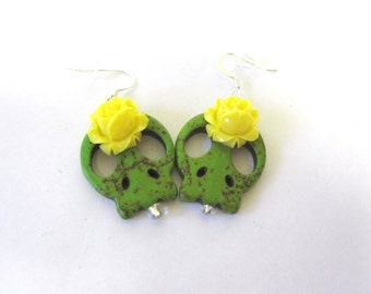 Sugar Skull Earrings Day Of The Dead Green Yellow Rose