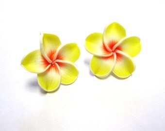 Yellow Flower Earrings Hibiscus Post