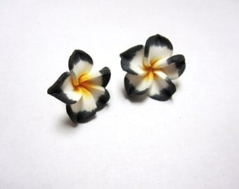 Black White Flower Earrings Hibiscus Post Stud