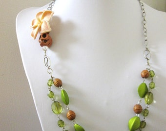 Sugar Skull Necklace Green White Brown Silver Day Of The Dead
