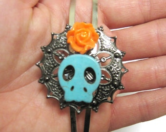 Sugar Skull Headband Turquoise Blue Coral Orange Rose Day Of The Dead Head Band