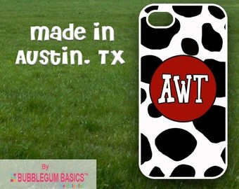 Custom Phone Case iPhone 6 5/5S 4/4S Samsung Galaxy S4 S5 - Cow Print Red Circle - Monogrammed Personalized
