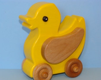 Wooden Easter YELLOW DUCKY on the Go - a great baby gift idea