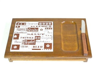 Vintage Ceramic Tile Cheese Names Serving Tray Cutting Board with Hidden Drawer of Drink Coasters