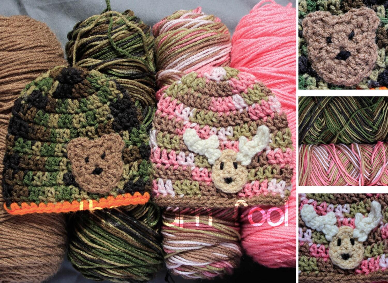 Crochet camouflage hat with deer or bear applique newborn zoom bankloansurffo Images