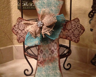 Turquoise Wood Cross, Vintage Style Wood Cross, Mother's Day Wood Cross