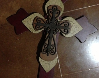 Extra Large Red Cinnamon and  camel Wood Cross