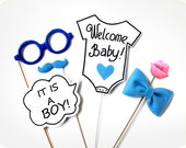 It's a Boy Photo Booth Props - 6 Piece Photo Prop - BABY SHOWER Photobooth Props